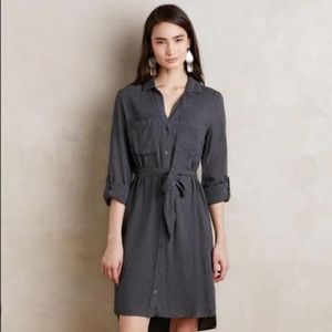 Anthropologie Hearth Shirtdress Gray Flannel